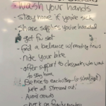White board with list of things to do during the Coronavirus scare